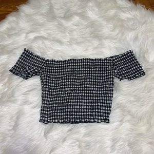 Plaid off the shoulder crop top medium